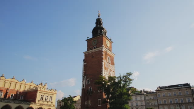view of the main square krakow - smith tower stock videos & royalty-free footage