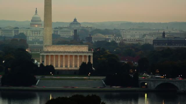 T/L WS HA View of the Mall at sunrise / Washington DC, USA