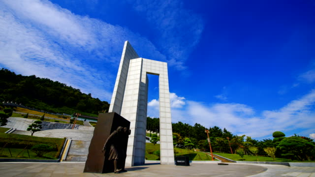 view of the march 15th national cemetery (famous national cemetery in korea) - weibliche figur stock-videos und b-roll-filmmaterial