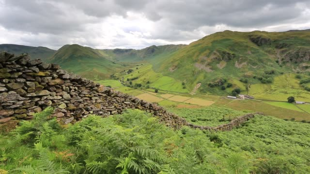view of the martindale valley, lake district national park, cumbria, england, uk - fern stock videos & royalty-free footage