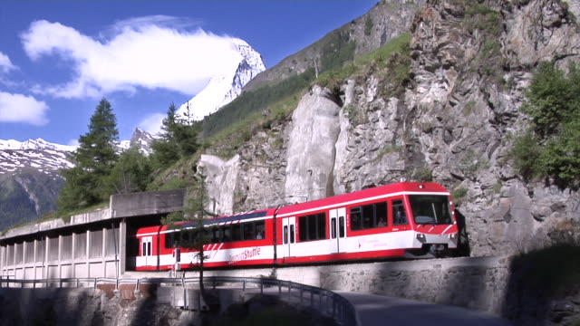 View of the Matterhorn and a train of the Matterhorn Gotthard railway (MGB)
