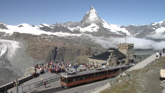 View of the Matterhorn and the Gornergrat railway station