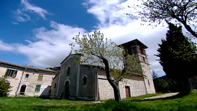view of the medieval church of saint maron in volperino. during the crusades the relics of saint maron, founder of the maronite order, were sent to... - the crusades stock videos & royalty-free footage