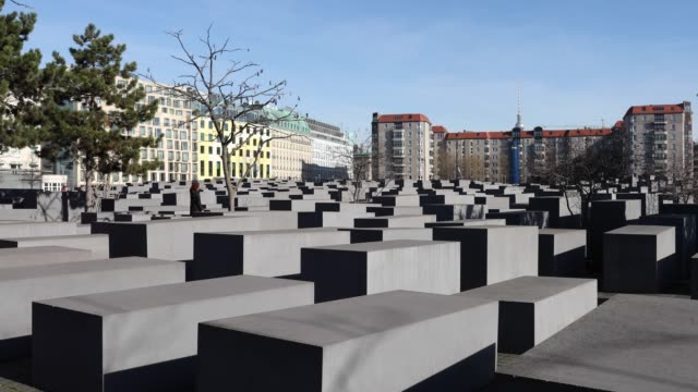 A view of The Memorial to the Murdered Jews of Europe also known as the Holocaust Memorial in Berlin on February 17 2019