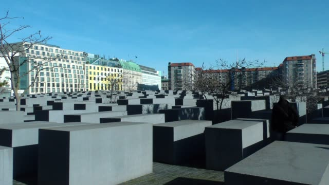 a view of the memorial to the murdered jews of europe also known as the holocaust memorial in berlin on february 17 2019 - memorial event stock videos and b-roll footage