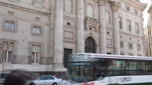 view of the ministry of economy of argentina and the banco nación building on august 4, 2020 in buenos aires, argentina. the argentine government... - politik stock-videos und b-roll-filmmaterial