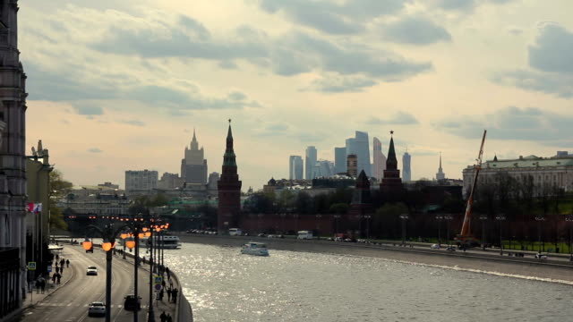 View of the Moscow Kremlin and the Moscow river with skyscrapers in the background