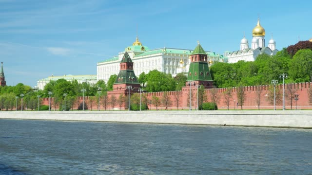 view of the moscow kremlin - river moscva stock videos & royalty-free footage