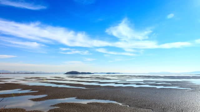 a view of the mudflats in ganghwa-gun, incheon - gezeiten stock-videos und b-roll-filmmaterial
