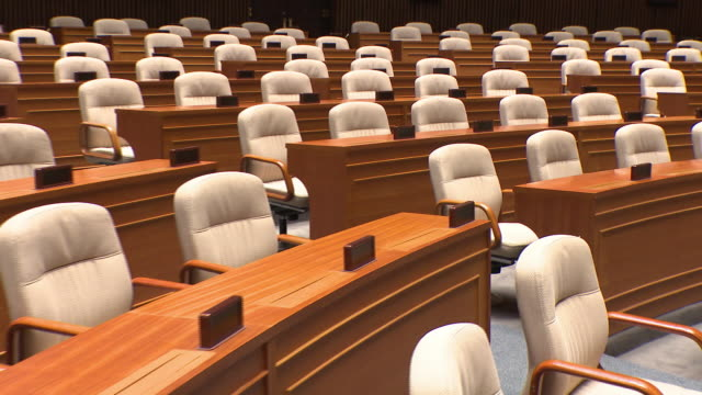 vídeos de stock e filmes b-roll de view of the national assembly plenary chamber in seoul, south korea - politician