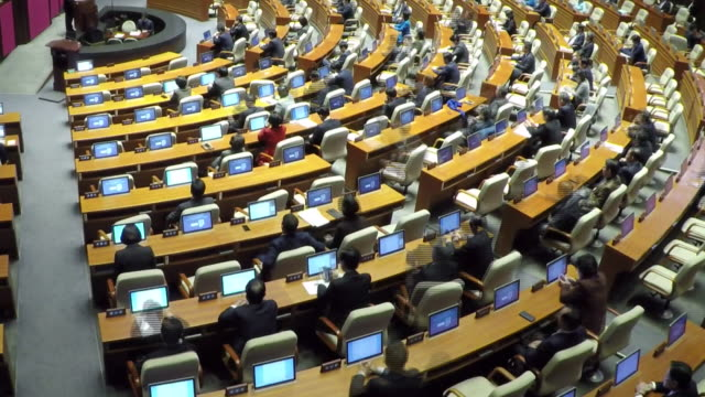 view of the national assembly plenary session in seoul, south korea - politician stock videos & royalty-free footage