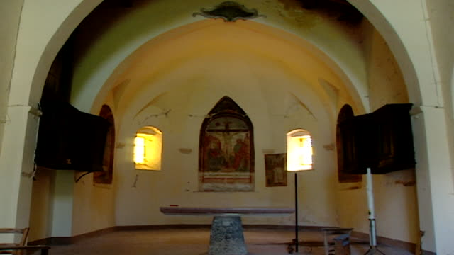 view of the nave at the church of saint maron in volperino. during the crusades the relics of saint maron, founder of the maronite order, were sent... - the crusades stock videos & royalty-free footage
