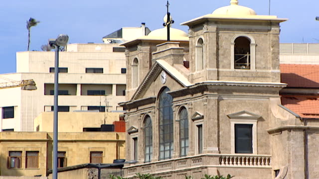 view of the neoclassical facade of the st george maronite cathedral in downtown beirut. it was built in 1894 and was heavily shelled during the... - christianity stock videos & royalty-free footage