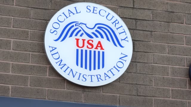 view of the new york state social security administration in flushing, borough of queens, new york city on october 20, 2020. social security... - 社会保障点の映像素材/bロール
