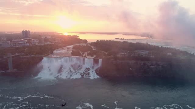 view of the niagara falls(bridal veil falls) in newyork, usa at sunrise - wide stock videos & royalty-free footage