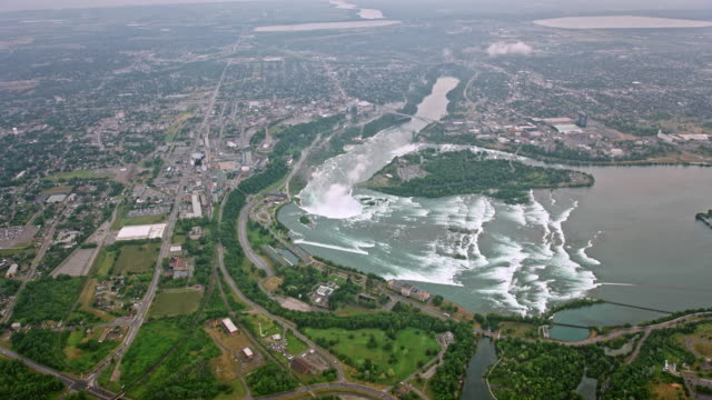 aerial view of the niagara river and horseshoe falls from the canadian side - river niagara stock videos & royalty-free footage