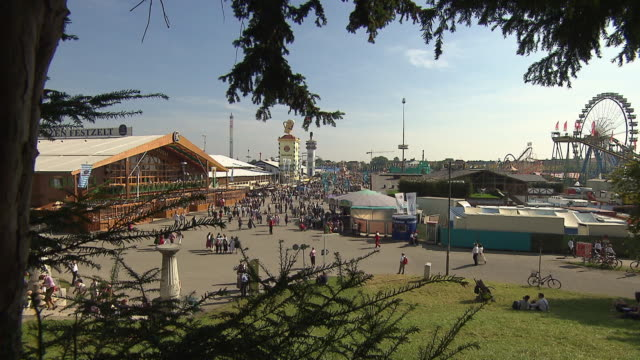 view of the oktoberfest-area - fairground stall stock videos & royalty-free footage
