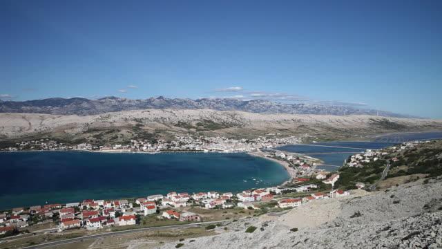 view of the pag city, pag island - クロアチア点の映像素材/bロール