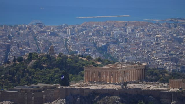 view of the parthenon temple a famous international landmark pictured from the lycabettus hill on august 23 2020 in athens during the coronavirus... - lycabettus hill stock videos & royalty-free footage