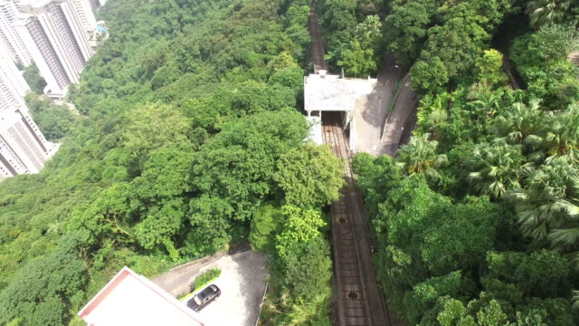 view of the peak tram climbing victoria peak(international landmark) - victoria peak stock videos & royalty-free footage