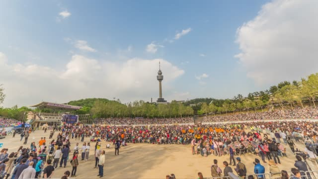 view of the plaza in front of the 83 tower(a symbol of daegu and offers an incredible view of the entire city) in daegu - north gyeongsang province stock videos & royalty-free footage