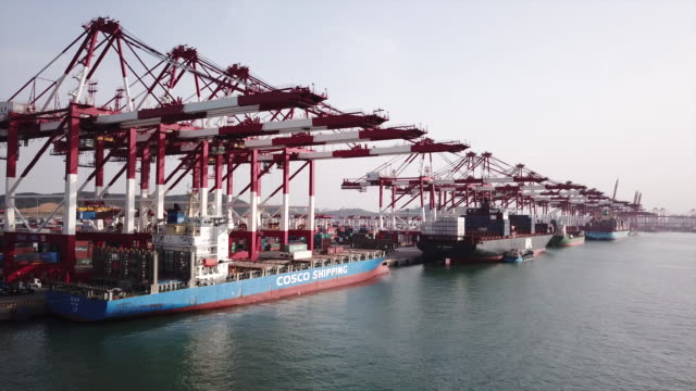 A view of the Qingdao New Qiantan Port in Qingdao China on Monday May 7 2018