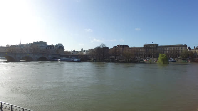 view of the quays and the seine in paris. - river seine stock videos & royalty-free footage