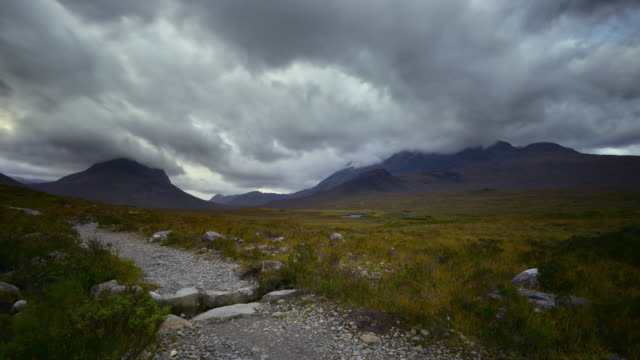 View of the Red and Black hills of the northen Cuillins on the Isle Of Skye in the Scottish Highlands