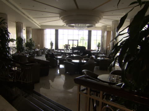 view of the restaurant in the lobby of the intercontinental hotel - intercontinental hotels group stock videos & royalty-free footage