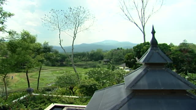 view of the roof of a miniature pagoda overlooking a lush garden landscape - temple building stock videos & royalty-free footage