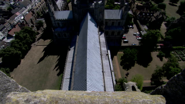 view of the roof of ely cathedral from a high tower. available in hd. - fensterbank stock-videos und b-roll-filmmaterial