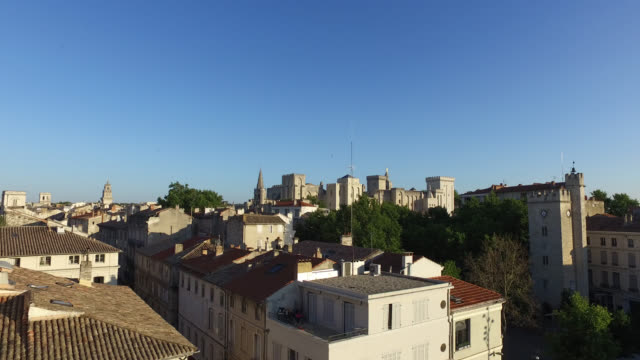 view of the roofs of the city of avignon with the palace of the popes - palace video stock e b–roll
