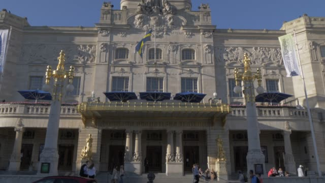 view of the royal dramatic theatre, stockholm, sweden, scandinavia, europe - swedish flag stock videos and b-roll footage