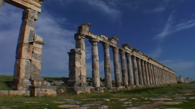 view of the ruins of the great colonnade, which is one of the longest in the roman world. apamea was completely looted and gutted in the syrian civil... - 長さ点の映像素材/bロール