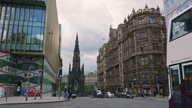 view of the scott monument in edinburgh, scotland - edinburgh scotland stock videos & royalty-free footage