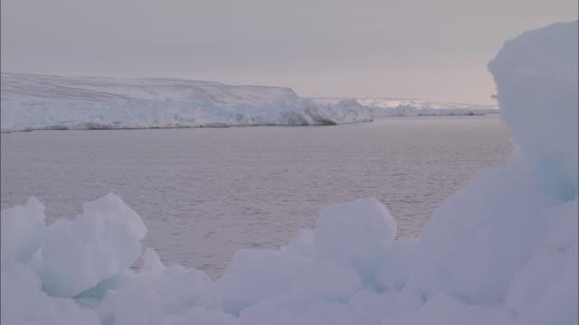 vidéos et rushes de view of the sea and glacier in the north pole - iceberg bloc de glace