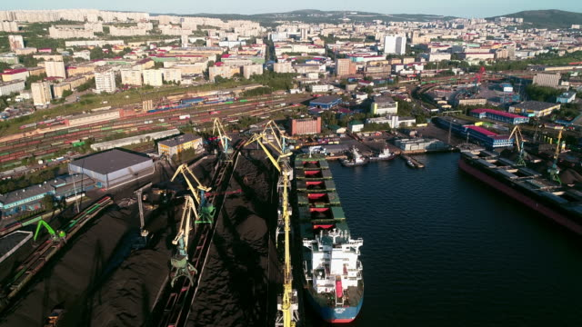 view of the sea port of murmansk and kola bay - convoy stock videos and b-roll footage