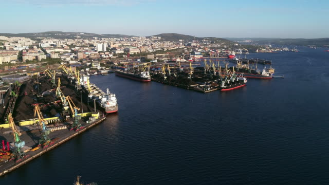 view of the sea port of murmansk and kola bay - vehicle scoop stock videos and b-roll footage