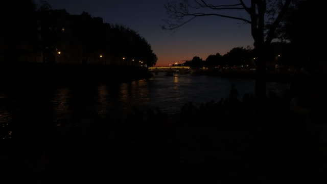 view of the seine after sunset - river seine stock videos & royalty-free footage