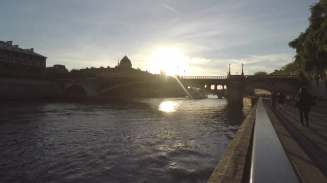 view of the seine in paris - river seine stock videos & royalty-free footage