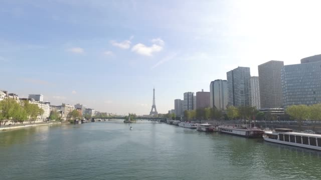 view of the seine, with the eiffel tower. paris - replica eiffel tower stock videos & royalty-free footage