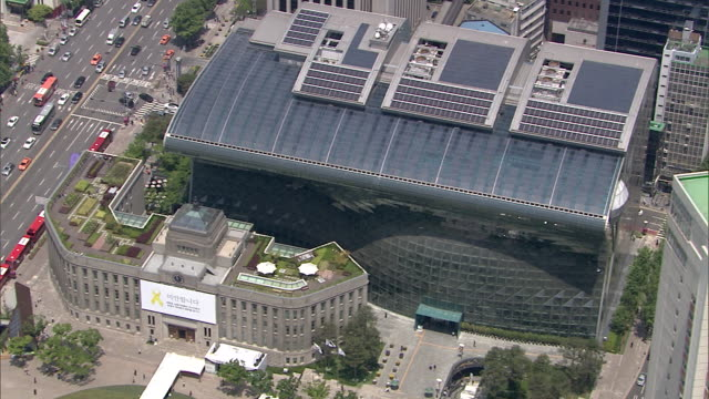 aerial view of the seoul city hall - town hall stock videos & royalty-free footage