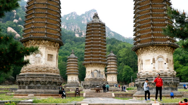 a view of the silver mountain pagoda forest scenic spot aka yinshan talin on may 5 2020 in beijing china - pagoda stock videos & royalty-free footage