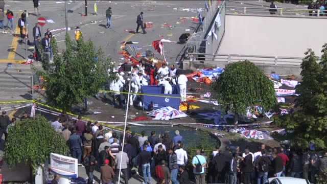 view of the site of an explosion close to ankara's main train station on october 10 2015 in ankara turkey an explosion hit ankara train station... - friedensdemonstration stock-videos und b-roll-filmmaterial