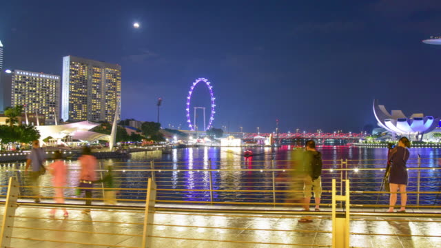view of the skyline of singapore downtown cbd - marina bay singapore stock videos and b-roll footage