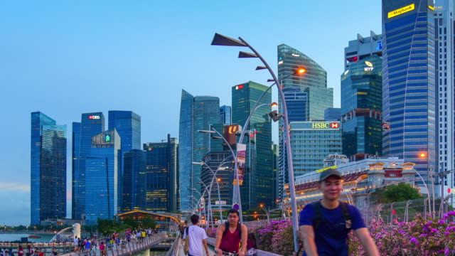 view of the skyline of singapore downtown cbd - singapore stock videos & royalty-free footage