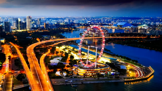 view of the skyline of singapore downtown cbd - singapore flyer stock videos and b-roll footage