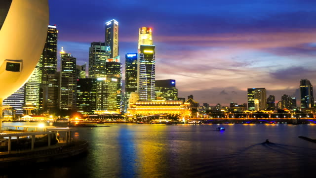 view of the skyline of singapore downtown cbd - singapore river stock videos & royalty-free footage