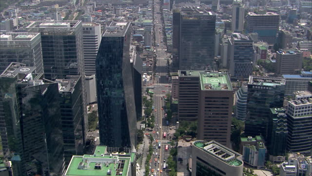 AERIAL View of the skyscrapers at downtown district of Seoul City