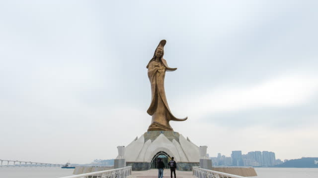 view of the statue of guanyin in macau china - macao stock videos & royalty-free footage